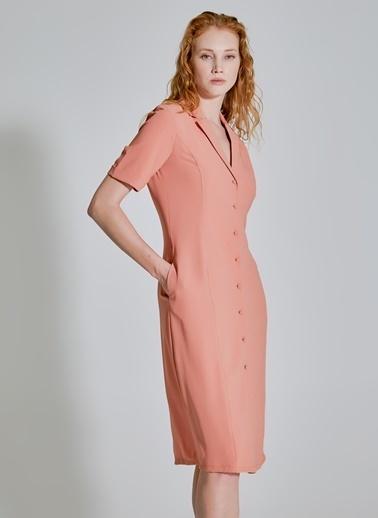 People By Fabrika Cep Detaylı Gömlek Elbise Somon